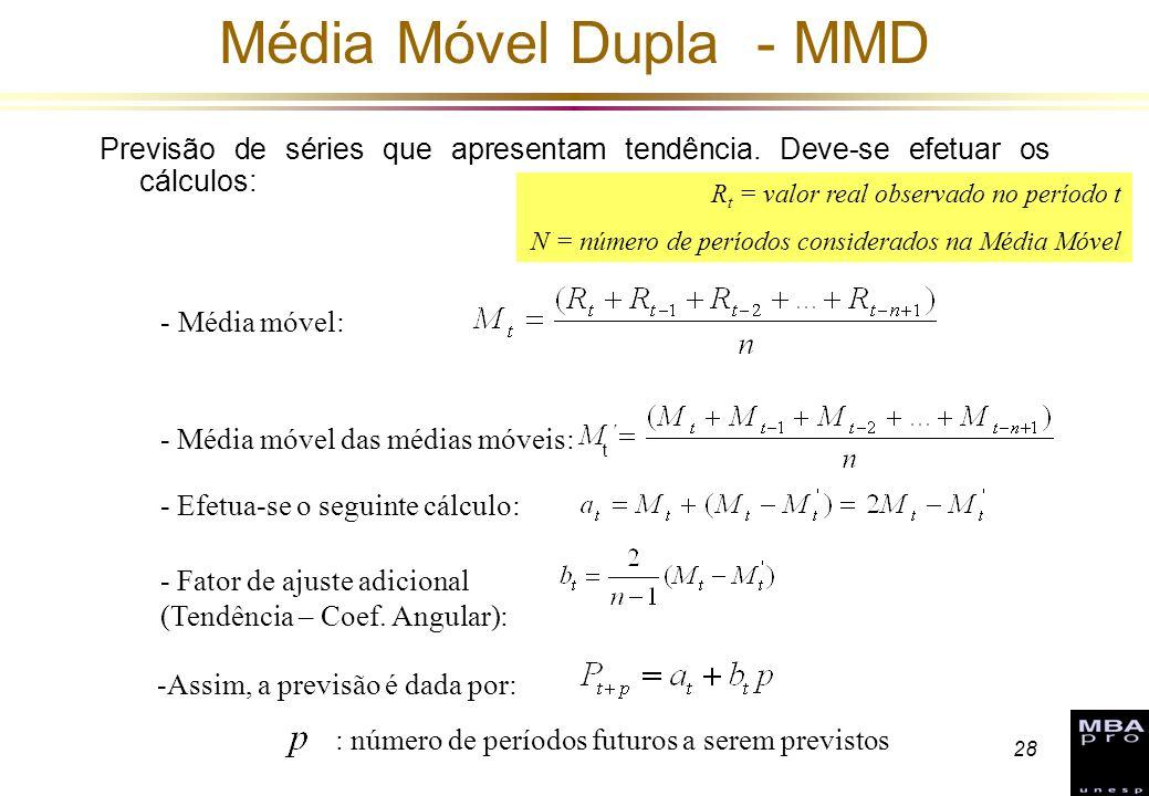 Média Móvel Dupla - MMD Previsão de séries que apresentam tendência. Deve-se efetuar os cálculos: Rt = valor real observado no período t.