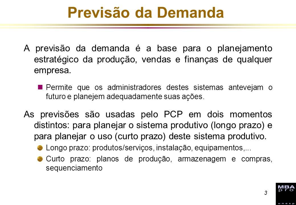 Previsão da Demanda A previsão da demanda é a base para o planejamento estratégico da produção, vendas e finanças de qualquer empresa.