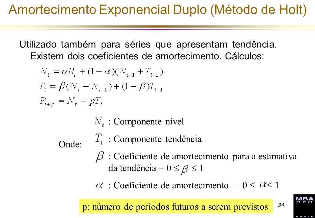 Amortecimento Exponencial Duplo (Método de Holt)