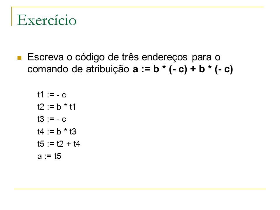 Exercício Escreva o código de três endereços para o comando de atribuição a := b * (- c) + b * (- c)