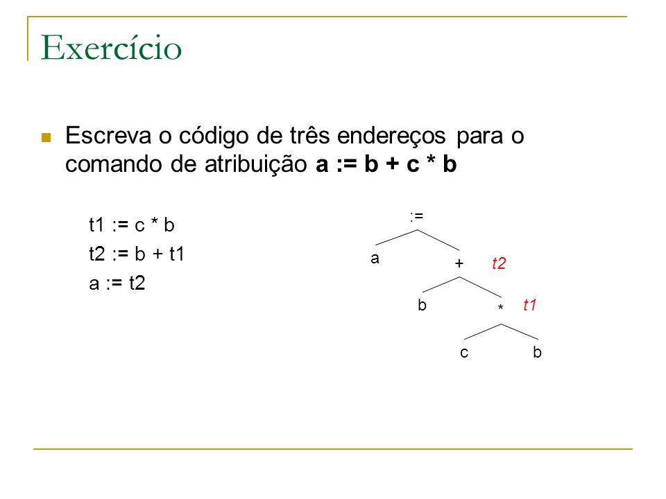 Exercício Escreva o código de três endereços para o comando de atribuição a := b + c * b. t1 := c * b.
