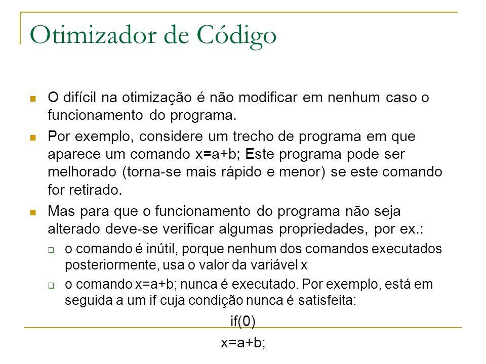 Otimizador de Código O difícil na otimização é não modificar em nenhum caso o funcionamento do programa.
