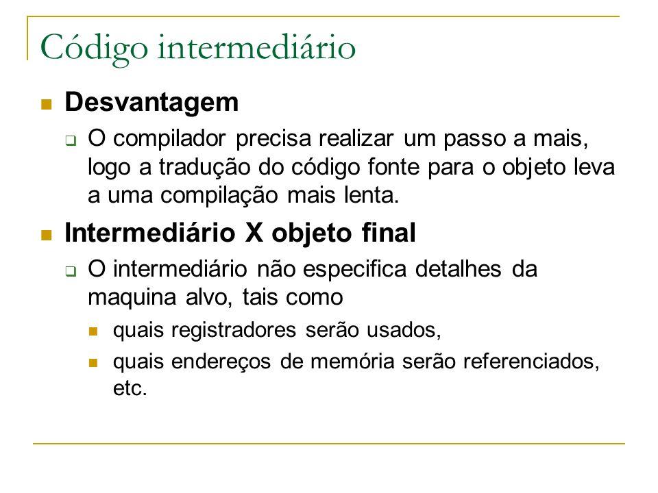 Código intermediário Desvantagem Intermediário X objeto final