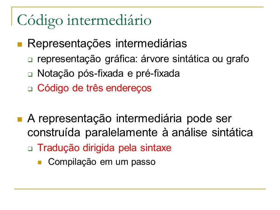 Código intermediário Representações intermediárias