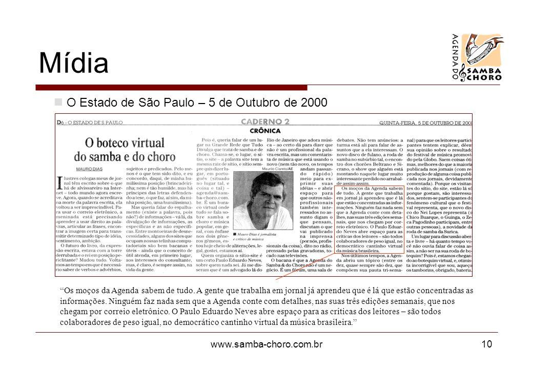 Mídia O Estado de São Paulo – 5 de Outubro de 2000