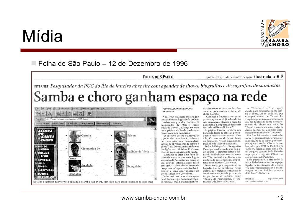 Mídia Folha de São Paulo – 12 de Dezembro de 1996