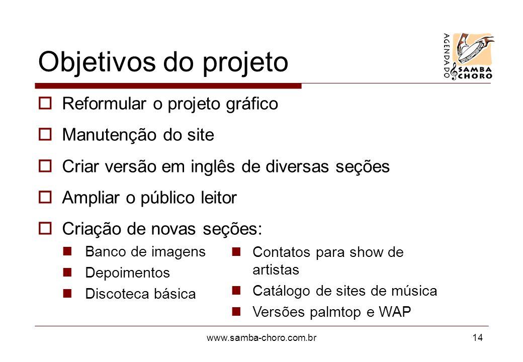 Objetivos do projeto Reformular o projeto gráfico Manutenção do site