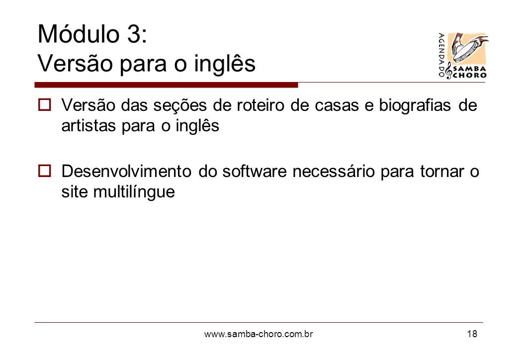 Módulo 3: Versão para o inglês
