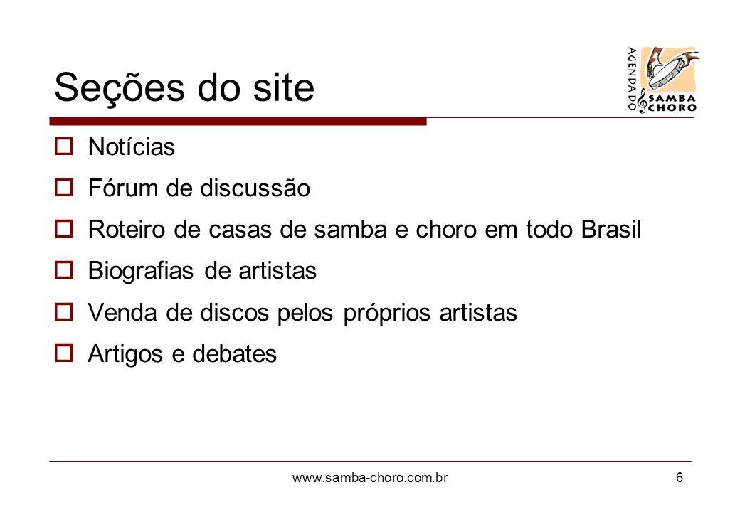 Seções do site Notícias Fórum de discussão