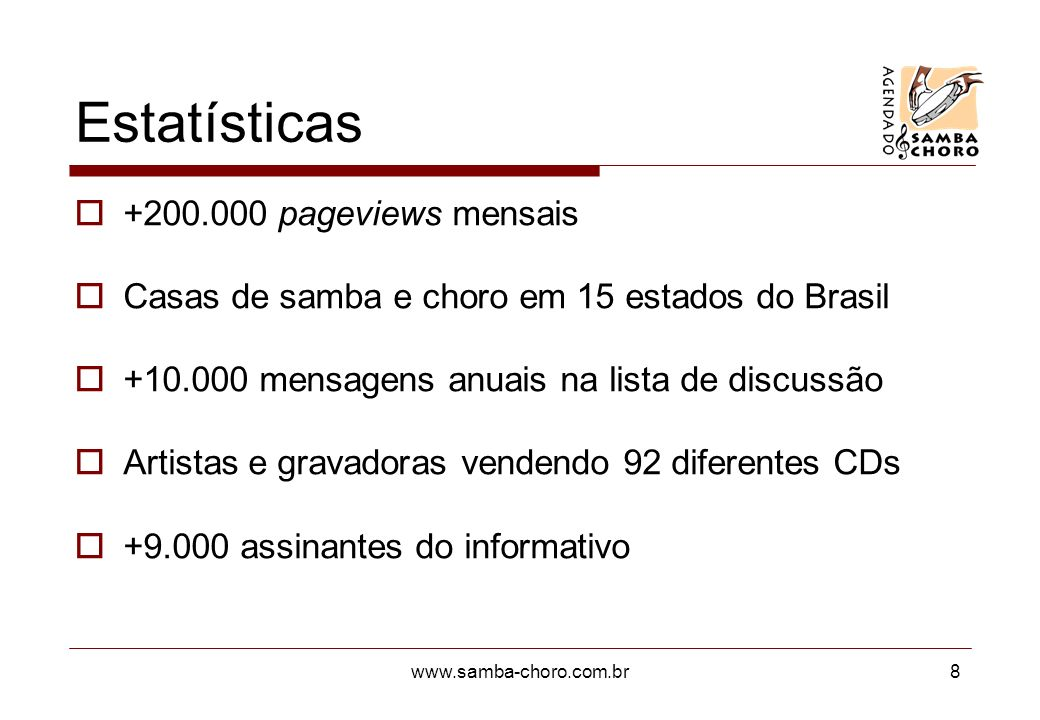 Estatísticas pageviews mensais