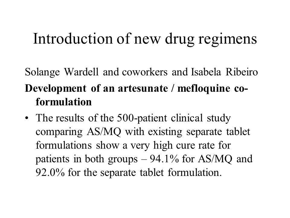 Introduction of new drug regimens