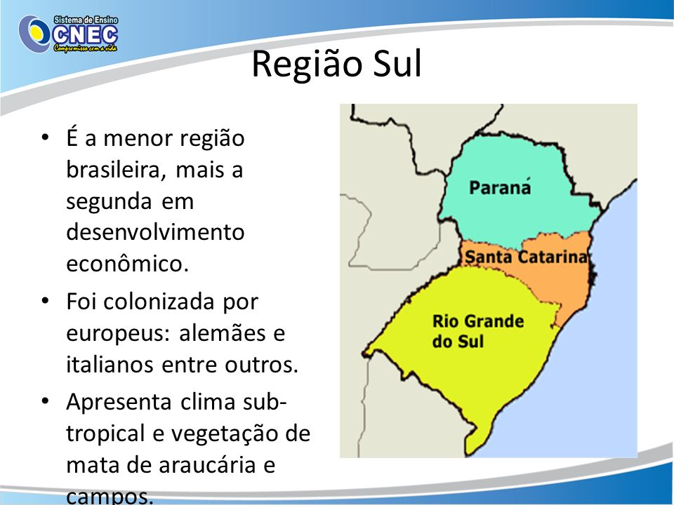 Região Sul É a menor região brasileira, mais a segunda em desenvolvimento econômico. Foi colonizada por europeus: alemães e italianos entre outros.