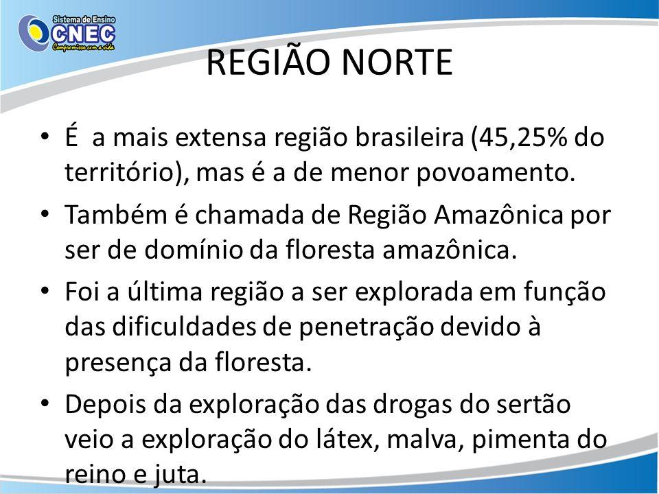 REGIÃO NORTE É a mais extensa região brasileira (45,25% do território), mas é a de menor povoamento.