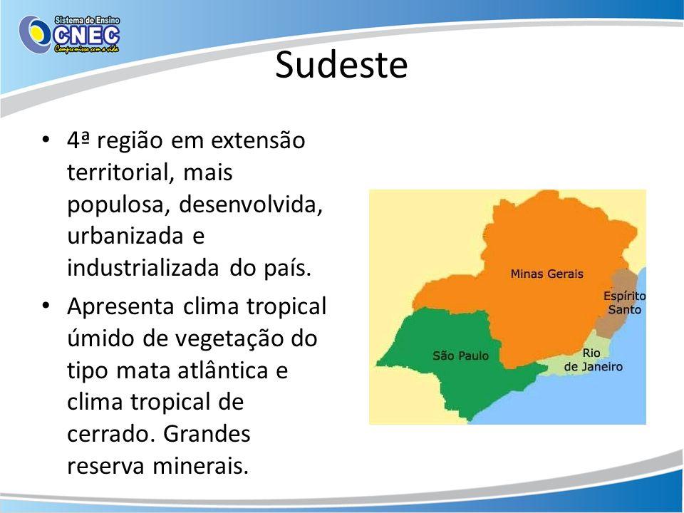 Sudeste 4ª região em extensão territorial, mais populosa, desenvolvida, urbanizada e industrializada do país.
