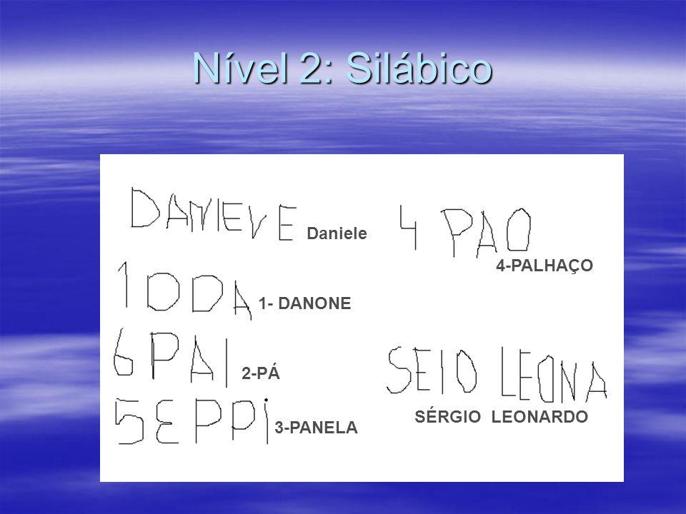 Nível 2: Silábico Daniele 4-PALHAÇO 1- DANONE 2-PÁ SÉRGIO LEONARDO