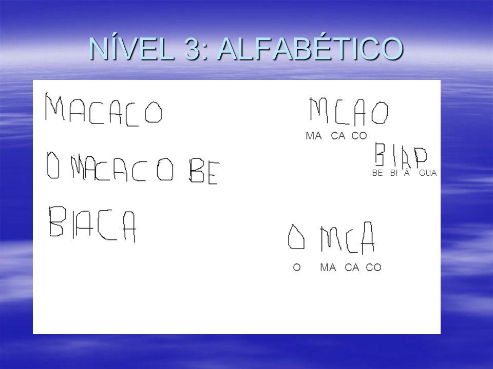 NÍVEL 3: ALFABÉTICO MA CA CO BE BI Á GUA O MA CA CO