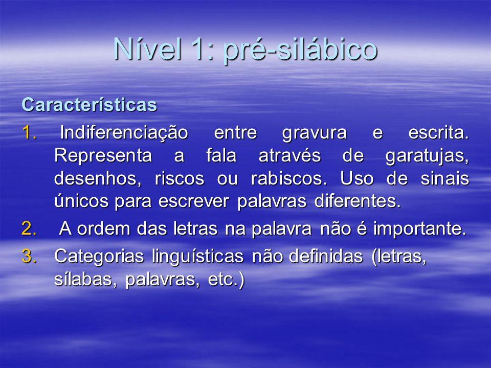 Nível 1: pré-silábico Características