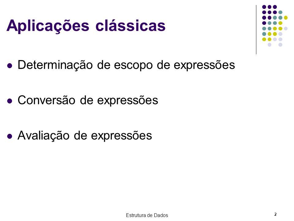 Aplicações clássicas Determinação de escopo de expressões