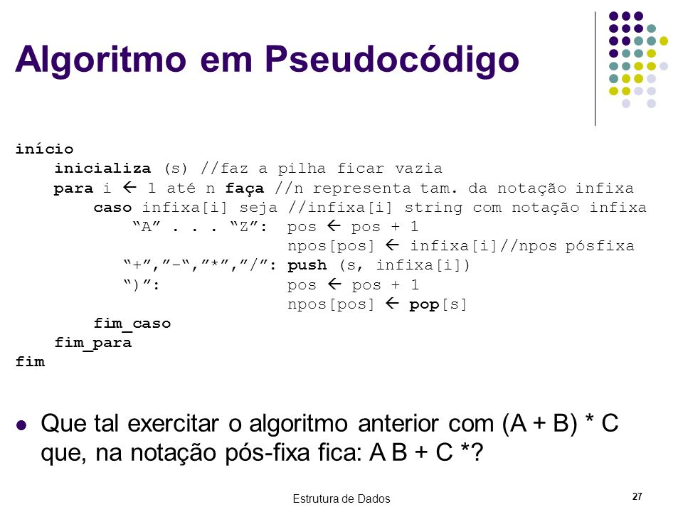 Algoritmo em Pseudocódigo