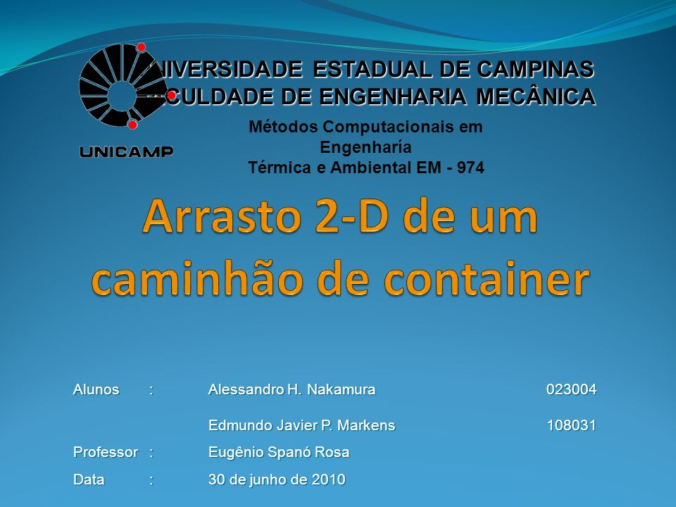 Arrasto 2-D de um caminhão de container