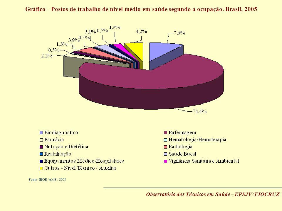 Gráfico - Postos de trabalho de nível médio em saúde segundo a ocupação. Brasil, 2005
