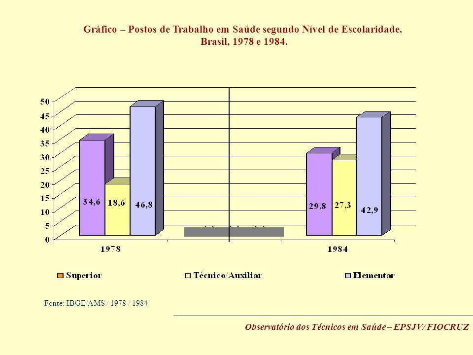 Gráfico – Postos de Trabalho em Saúde segundo Nível de Escolaridade.