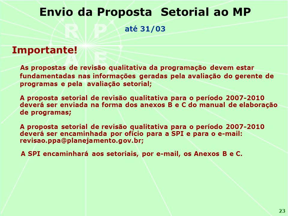 Envio da Proposta Setorial ao MP
