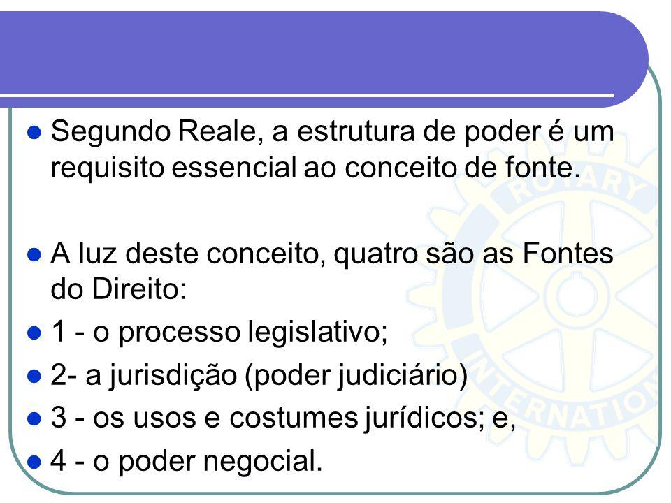 Segundo Reale, a estrutura de poder é um requisito essencial ao conceito de fonte.