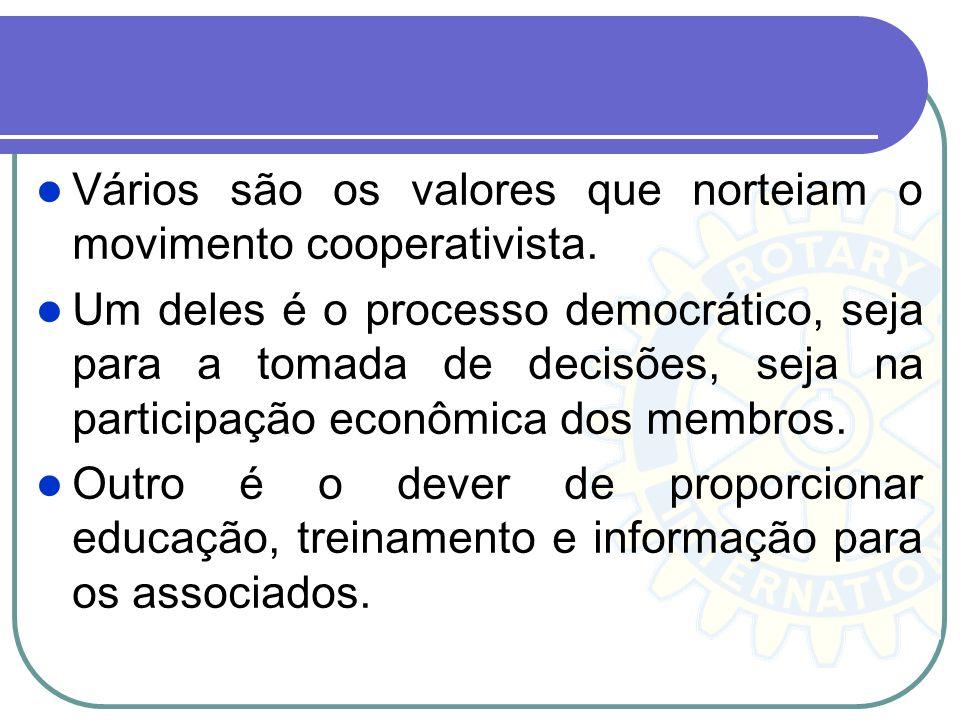 Vários são os valores que norteiam o movimento cooperativista.