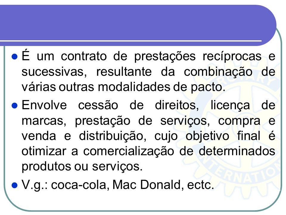 É um contrato de prestações recíprocas e sucessivas, resultante da combinação de várias outras modalidades de pacto.