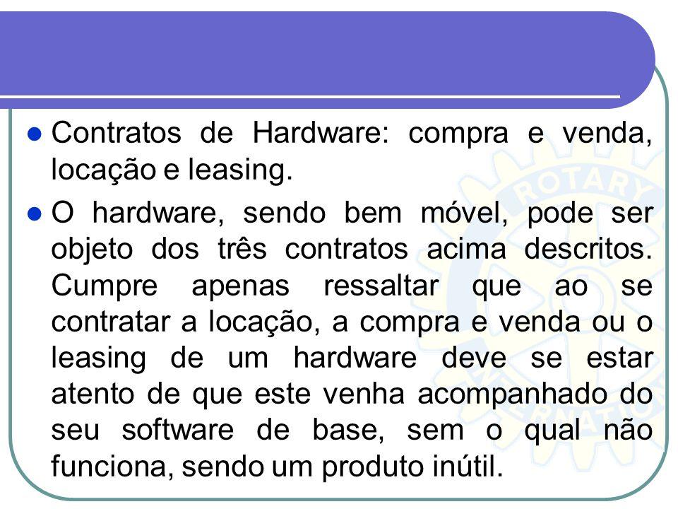 Contratos de Hardware: compra e venda, locação e leasing.