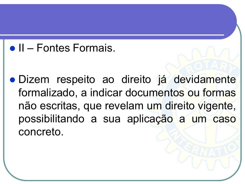 II – Fontes Formais.
