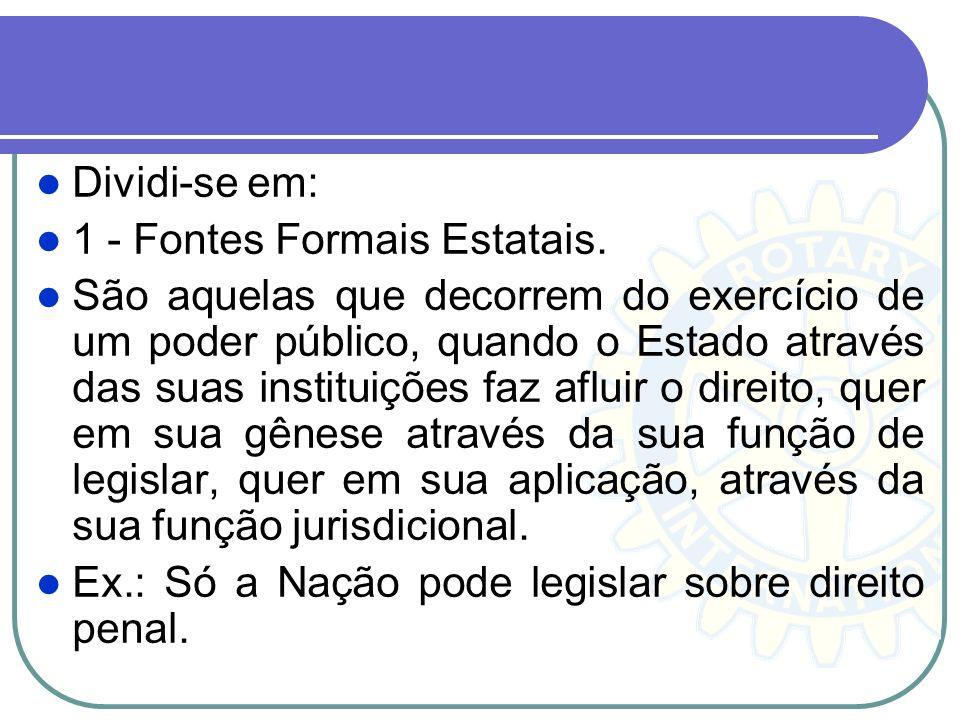 Dividi-se em: 1 - Fontes Formais Estatais.