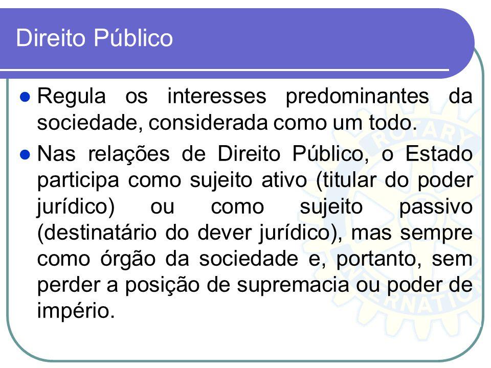 Direito Público Regula os interesses predominantes da sociedade, considerada como um todo.