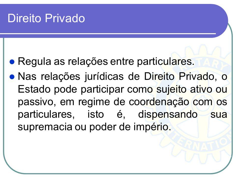 Direito Privado Regula as relações entre particulares.