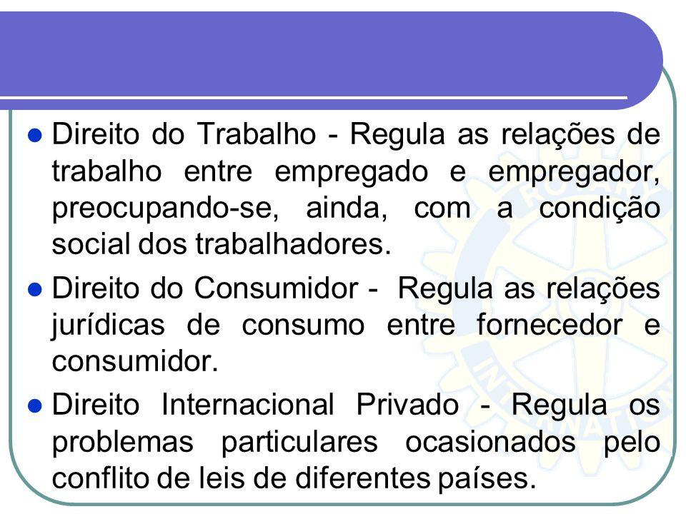 Direito do Trabalho - Regula as relações de trabalho entre empregado e empregador, preocupando-se, ainda, com a condição social dos trabalhadores.
