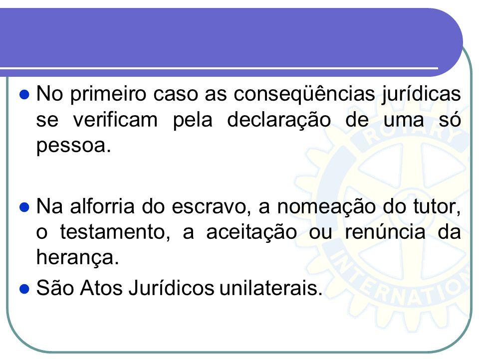 No primeiro caso as conseqüências jurídicas se verificam pela declaração de uma só pessoa.