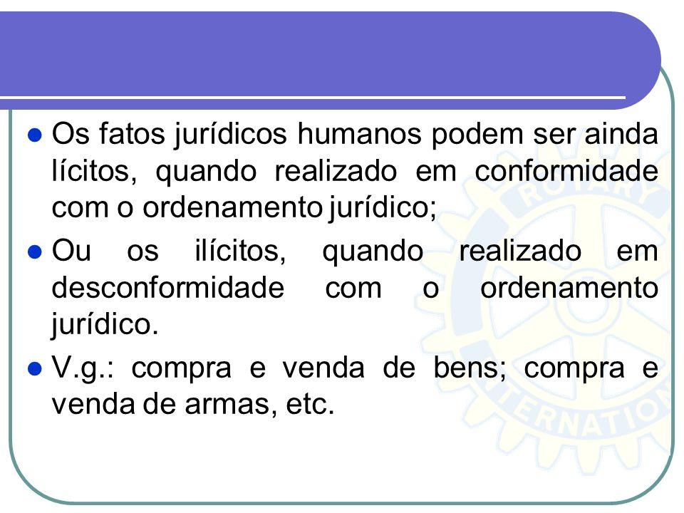 Os fatos jurídicos humanos podem ser ainda lícitos, quando realizado em conformidade com o ordenamento jurídico;