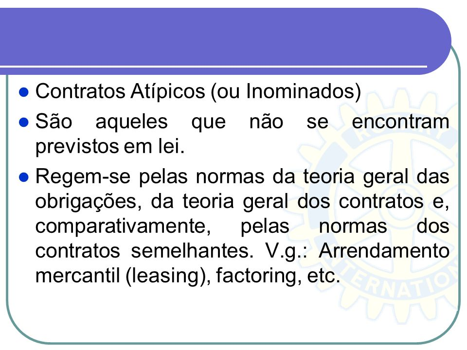 Contratos Atípicos (ou Inominados)