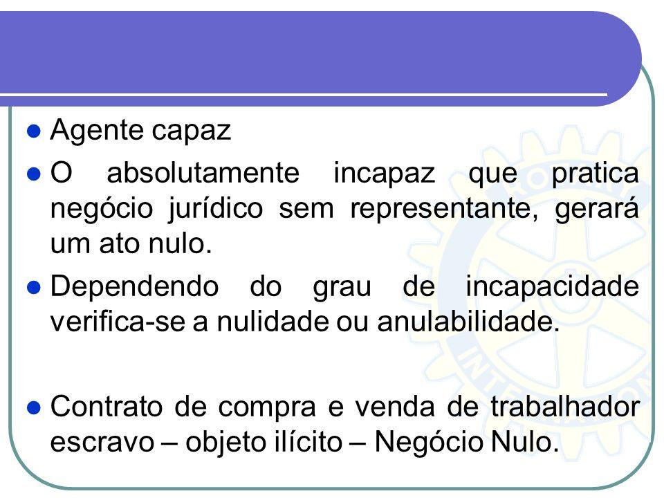 Agente capaz O absolutamente incapaz que pratica negócio jurídico sem representante, gerará um ato nulo.