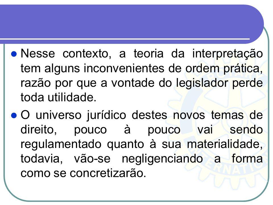 Nesse contexto, a teoria da interpretação tem alguns inconvenientes de ordem prática, razão por que a vontade do legislador perde toda utilidade.