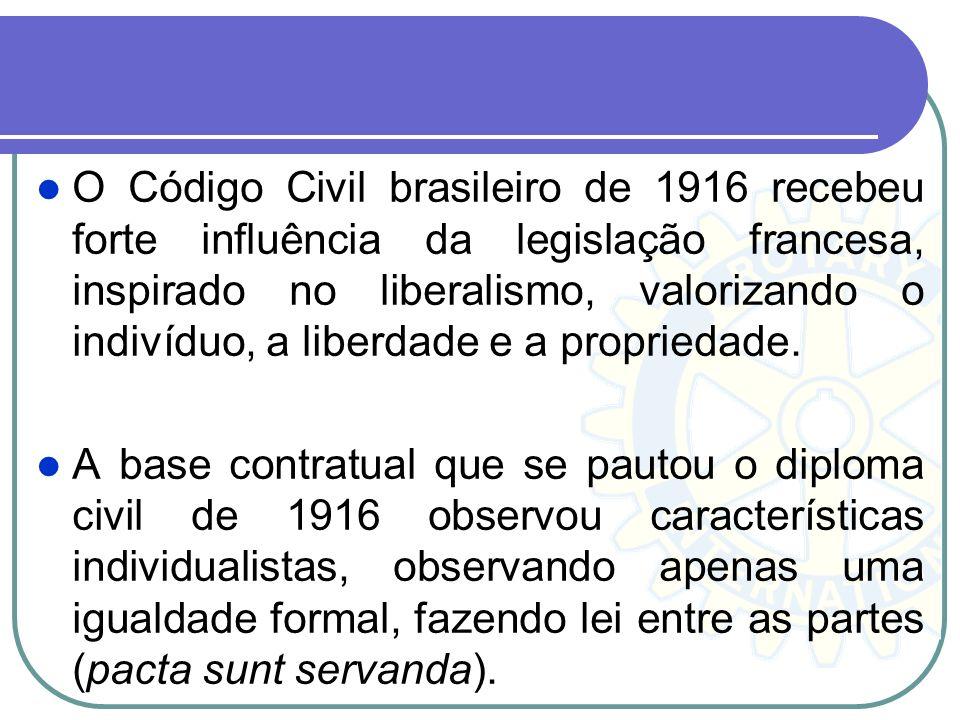 O Código Civil brasileiro de 1916 recebeu forte influência da legislação francesa, inspirado no liberalismo, valorizando o indivíduo, a liberdade e a propriedade.