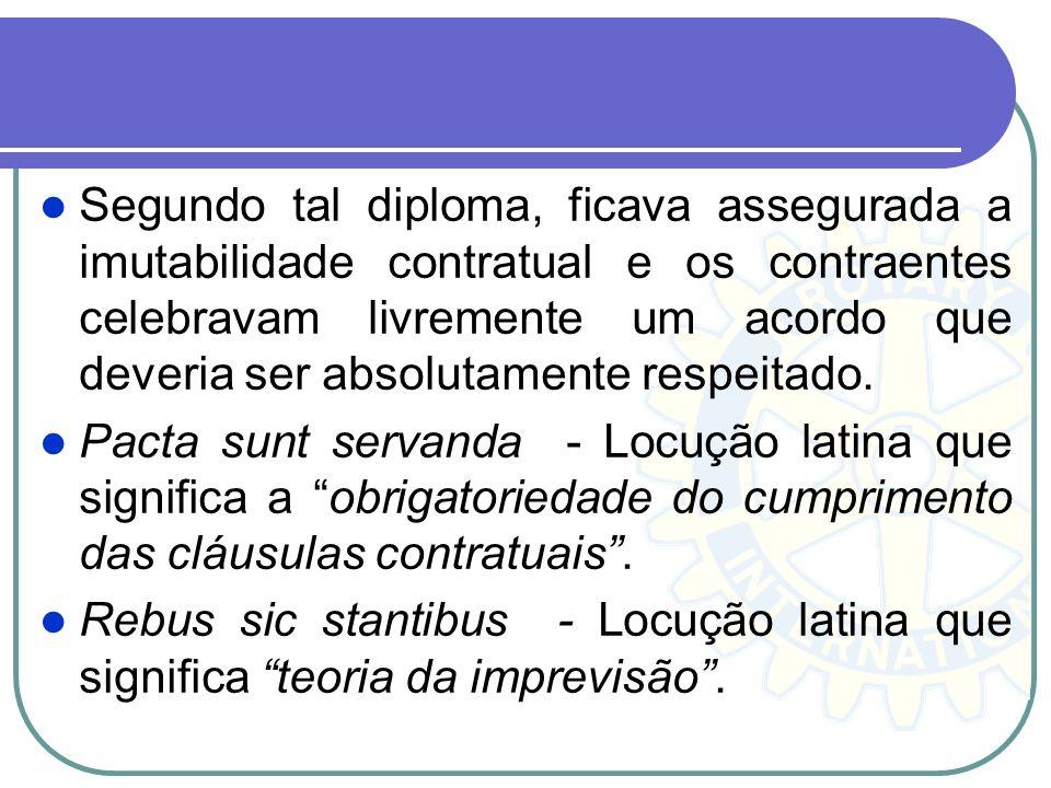 Segundo tal diploma, ficava assegurada a imutabilidade contratual e os contraentes celebravam livremente um acordo que deveria ser absolutamente respeitado.