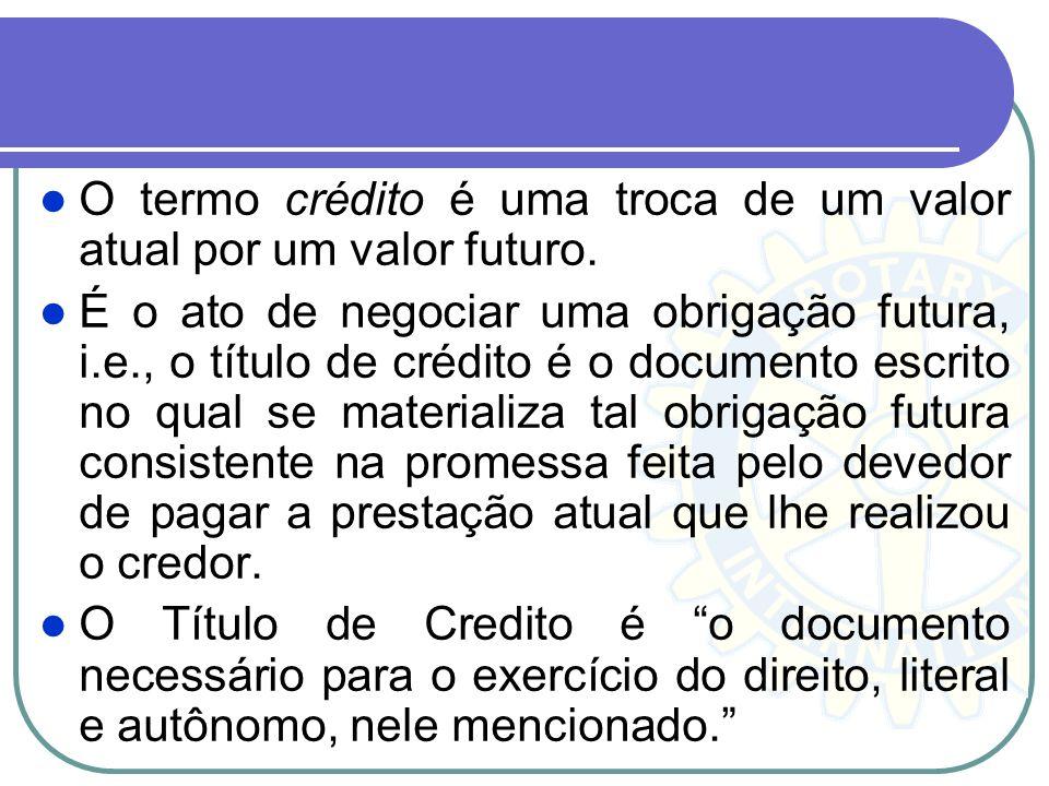 O termo crédito é uma troca de um valor atual por um valor futuro.