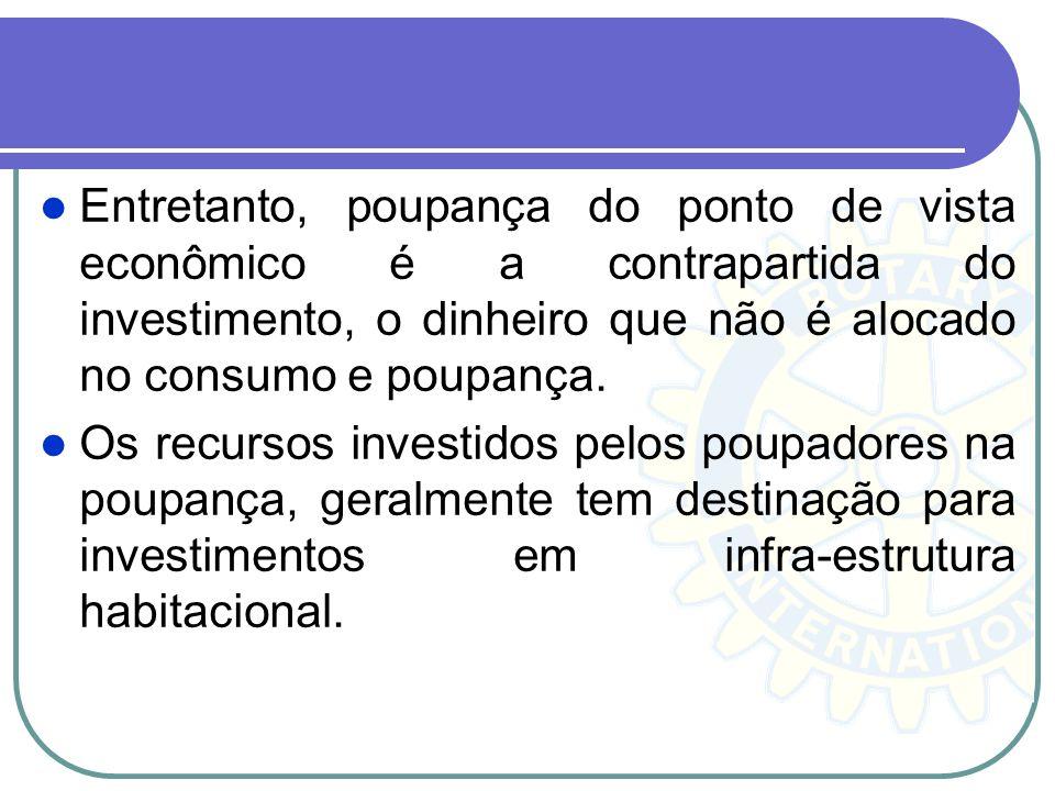 Entretanto, poupança do ponto de vista econômico é a contrapartida do investimento, o dinheiro que não é alocado no consumo e poupança.