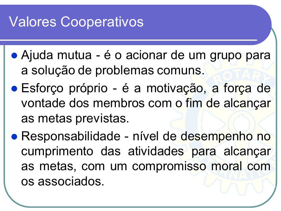 Valores Cooperativos Ajuda mutua - é o acionar de um grupo para a solução de problemas comuns.