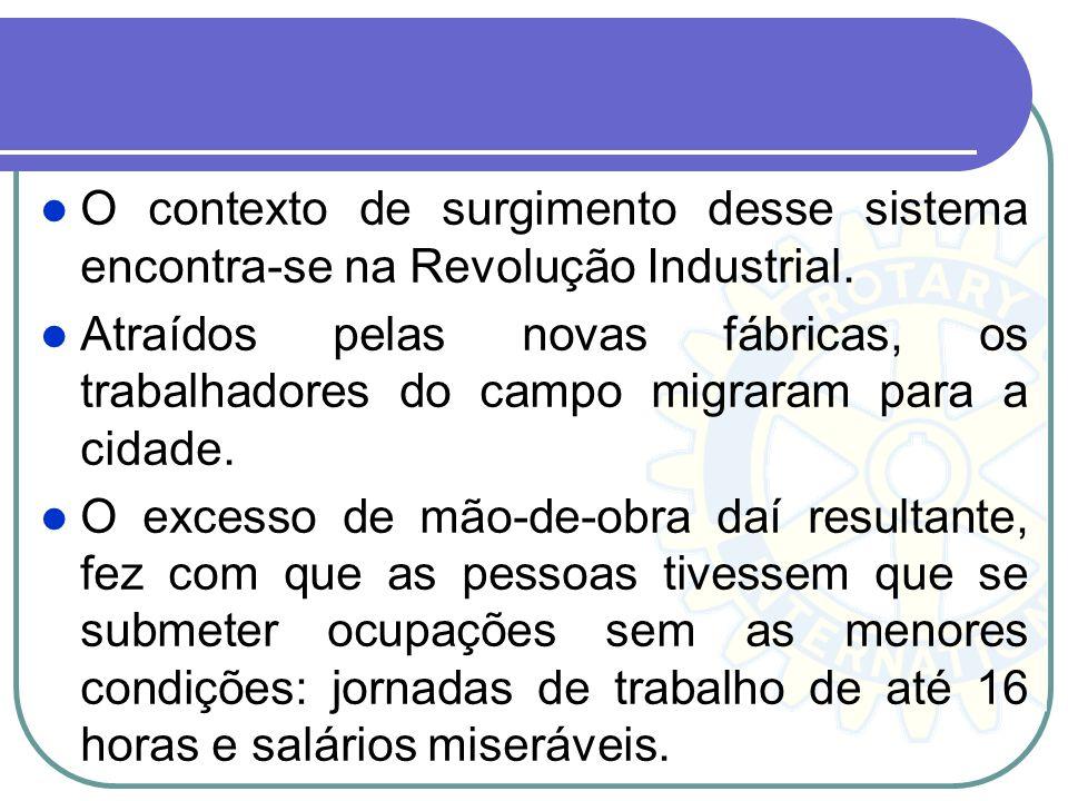 O contexto de surgimento desse sistema encontra-se na Revolução Industrial.