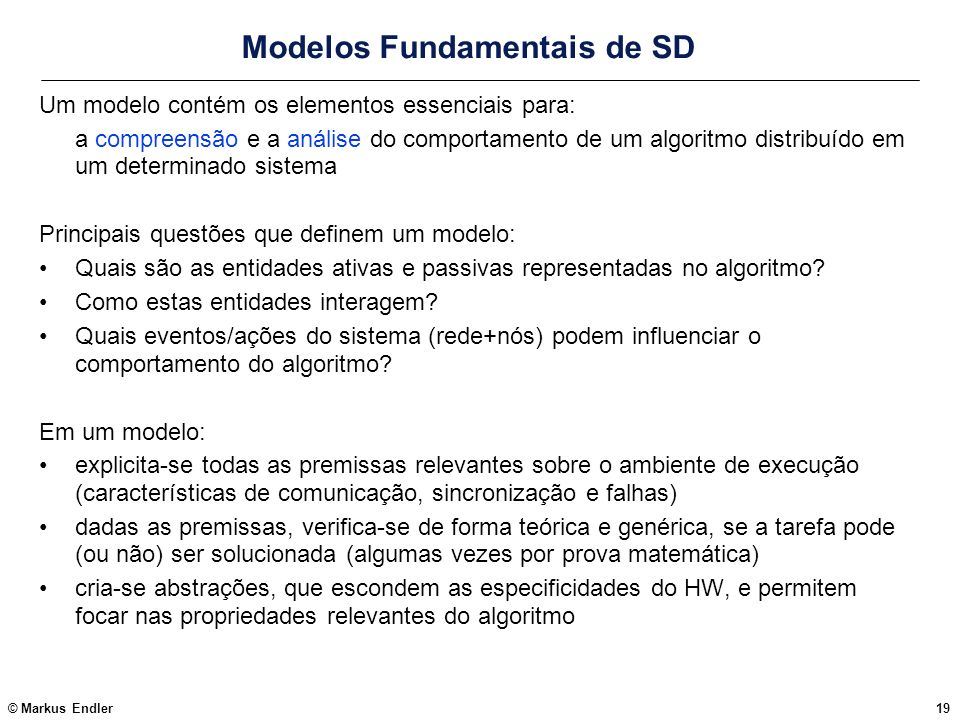 Modelos Fundamentais de SD