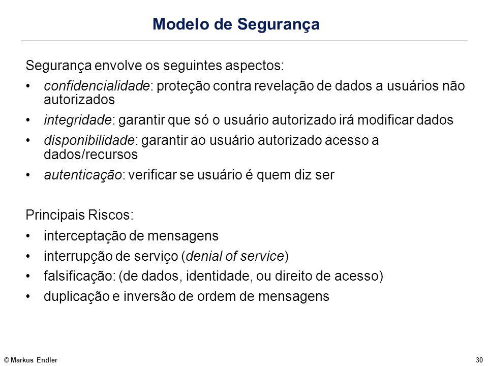 Modelo de Segurança Segurança envolve os seguintes aspectos: