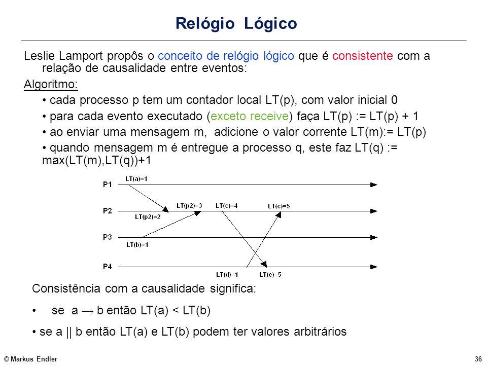 Relógio LógicoLeslie Lamport propôs o conceito de relógio lógico que é consistente com a relação de causalidade entre eventos: